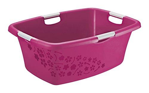 Rotho Wäschewanne 'Flowers' aus Kunststoff/Plastik (PP) in pink/weiss | Gr. L, Inhalt ca. 50 Liter - diverse Größen auswählbar | (LxBxH)...