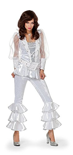 Damenkostüm Mama Mia Weiß, Gr. - 1960er Jahre Motto Party Kostüm