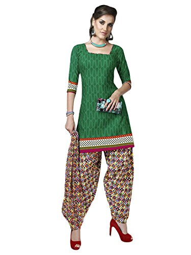 gallery69 Women's Charming Green Cotton Printed Unstitched Salwar Suit (GAPT-3128)