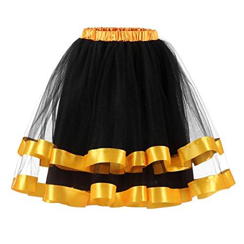 Jahre Vintage Tutu Petticoat Rock Prom Abend Gelegenheit Zubehör Schwarz-Gold XXL (Gold Prom)