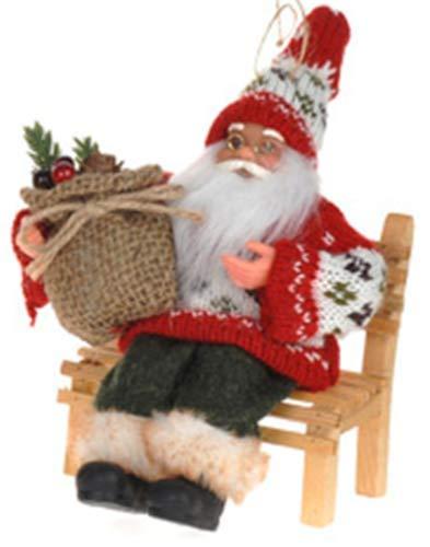 CB 18cm Hoch Klein Weihnachtsmann Ornament Zum Anziehen Fensterbank oder von Weihnachtsbaum - Santa auf Gartenbank