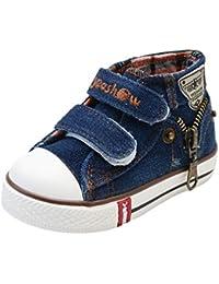 Niños Niñas Zapatillas de Tela, Moda Casuales al Aire Libre Zapatos Planas con Suela Blanda Comodos Clásicos Zapatillas de Lona de Mezclilla Unisex para Bebé Niños