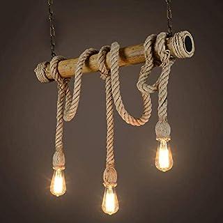 Chandelier Pendant Novelty Rope, 3 Head Chandelier, Vintage Mood, Hemp Rope and Bamboo Pendant Lights