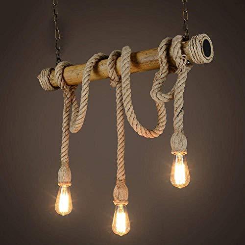 Kronleuchter Anhänger Neuerungen Seil, 3 head Kronleuchter,Vintage Stimmung, Hanfseil und Bamboo Pendelleuchten