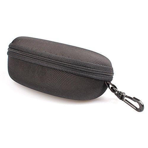 Mackur Fashion Große Kapazität Gläsern Sonnenbrille Hard Case mit Reißverschluss und Karabinerhaken 1, 1 Stück, Braun, 16.5×7.3×6.5cm