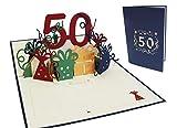 LIN-POP UP Grußkarten zum 50. Geburtag, Geburtstagskarten Glückwunschkarten Grußkarten Geburtstag
