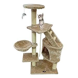 Todeco - Arbre à Chat, Perchoir pour Chat - Matériau: MDF - Matériau de la housse: Velours - 120 cm, 5 perchoirs, Beige
