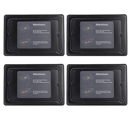 ELEGOO 4 PCS Plástico Tanques de Resina para Impresora 3D ELEGOO Mars con 4 PCS Tapas y Películas FEP Preinstaladas, Compatibles con Anycubic Photon, Photon S y Epax X1