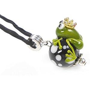 handgefertigter Anhänger aus Glas, Perle schwarz/weiss mit Frosch inklusive Seidenband
