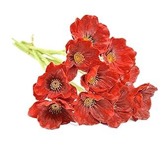 Isuper 1 Manojo / 10 Piezas de Las Amapolas Artificial Mini táctiles del Verdadero Amapolas Amapolas Flor Decorativa de simulación para la Boda del Partido 8.7″ para su casa