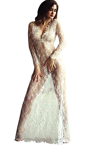 Reizvolle Art Tiefen V-Ausschnit Lange Hülsen Spitze Strand Kleid See-through Lange Kleid Mutterschaft Lace Blumen Kleid (EU34-36, Weiß) (Mutterschaft Mutterschaft Kleid)
