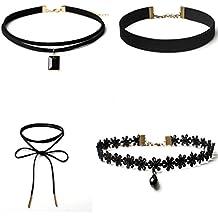 FAMILIZO 4 Piezas Juego De Collar De Collar De Encaje De Estilo GóTico CláSico De Terciopelo