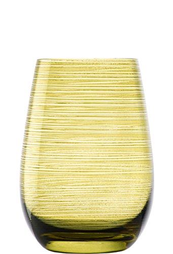 Vasos Twister de Stölzle Lausitz, 465 ml, Verde oliva, juego de 6 uni