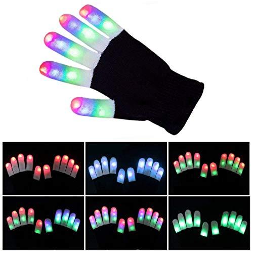 (Yeying123 LED Leuchten Blinkende Fingerhandschuhe 7 Modus Buntes Licht Weihnachten Liefert Geschenke Bühnenshow Club Bar Kostüm,1Pair)