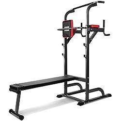 Pull Up Fitness - Barre de Traction avec Chaise Romaine et Banc Musculation, Noir/Rouge