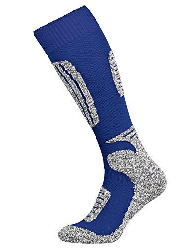 Tobeni 2 Paar Skisocken Funktionssocken Snowboardsocken Winter-Socken für Damen und Herren Farbe Blau-Grau Grösse 35-38