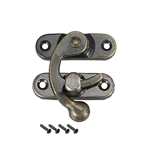 ZCHXD Antique Left Latch Hook Hasp, Swing Arm Latch Plated Bronze 100Pcs with Screws. -