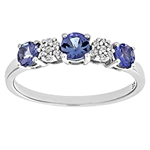 Naava 9 ct White Gold Tanzanite and Diamond Fancy Eternity Ring