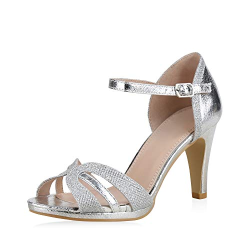 SCARPE VITA Damen Pumps Sandaletten Riemchensandaletten Elegante Schuhe Stiletto High Heels Metallic Glitzer 183237 Silber Glitzer 36