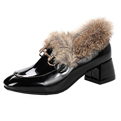 YE Damen Geschlossene Mid Heel Pumps Blockabsatz Lackleder Kleid Loafer Fell Mule Winter Bequeme Ohne Verschluss Schuhe(Schwarz,36)