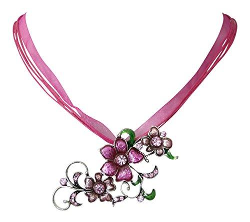 Trachtenschmuck Dirndl Kristall Ornamentale Blüten Anhänger Kette - silberfarben - Strasskristalle (Rosa / Pink)