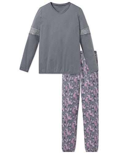 Schiesser Mädchen Family Anzug lang Zweiteiliger Schlafanzug, Grau (Graublau 209), 164