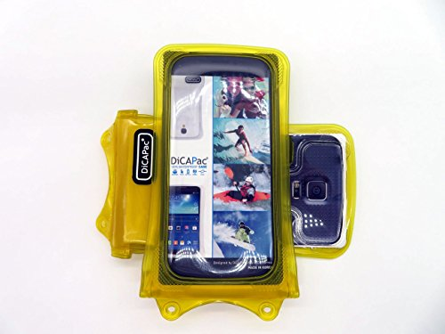 DicaPac WP-C1 Universelle Wasserdichte Hülle für Gionee Elife E3 / E5 / E6 / E7 Mini / S5.1 / S5.5 Smartphones in Gelb (Doppel-Klettverschluss, IPX8-Zertifizierung wasserdicht bis 10 m Tiefe)