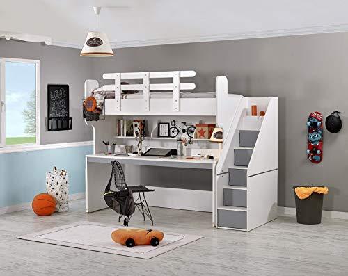 Hochbett Puzzle mit Schreibtisch, grau Matratze ohne Matratze (Kinder-hochbett Mit Treppe)