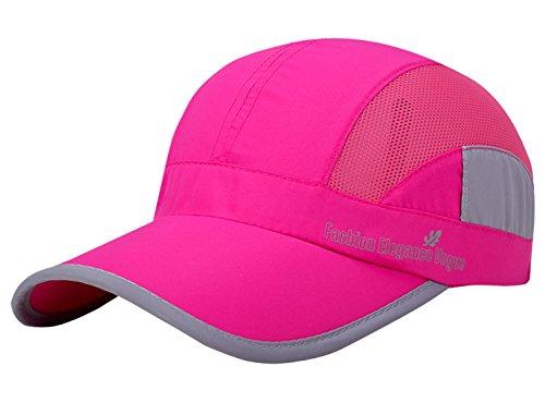 Aieoe Schnelltrocknend Snapback Cap Sommer Kappe Atmungsaktive Sport Caps Outdoor Sonnen-Kappe für Wandern, Bergsteigen, Joggen, Radfahren usw - Pink
