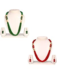Crazance Green And Red Beads Stylish And Trendy Combo Jewellery Set