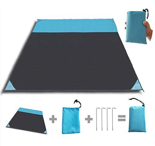 Stranddecke, ultraleichte Picknickdecke, wasserdichte und sandabweisende Campingdecke mit 4 Alu Heringe (200 x 200 cm)