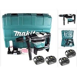 Makita DHR 400 T2U 2 x 18 V / 36 V Li-Ion Akku Bohrhammer Kombihammer SDS-Max im Koffer + 2 x 5,0 Ah Akku – ohne…
