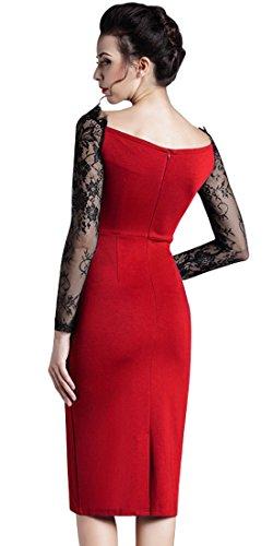 HOMEYEE Frauen-elegante Spitze Langarm Rund Kragen dünnes BodyCon Formal Vintage-Bleistift-Kleid O803 Red