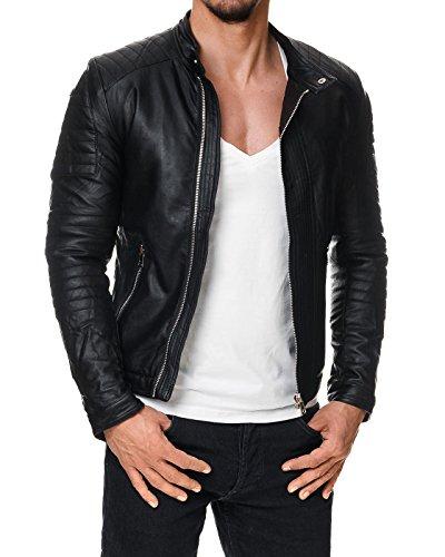 Prestige Homme BR22 Herren Kunst-Lederjacke Schwarz Stepp Muster S-XXL, Größe:L (Homme Leder)