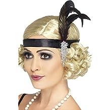 Damen 1920s Charleston-mädchen Satin Perlen Feder Haarband Stirnband Kostüm Kleid Outfit Zubehör