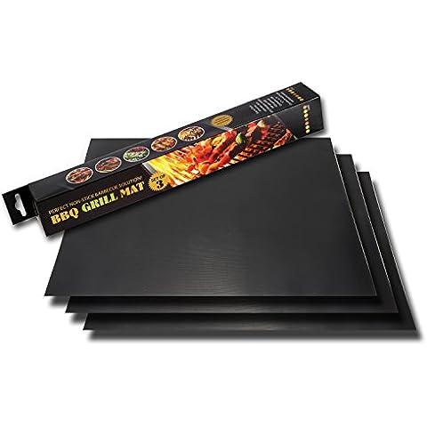 100% antiaderente cottura Mats by bnzhome–Set di 3Barbecue Grill Mats Resistente, FDA approved-reusable, extra spessa lavabile in lavastoviglie, resistente al calore, per barbecue, forno e grigliare 43,9x 33cm