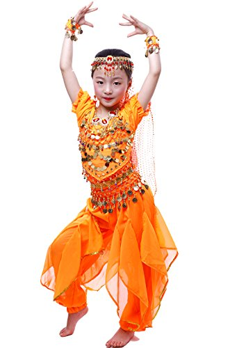 Mädchen Halloween Bauchtanz Kostüm Anzug Orange L
