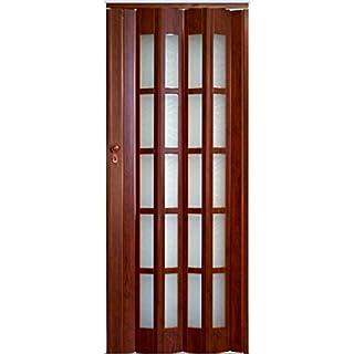 Falttür Schiebetür Mahagoni Farbe dunkelbraun mit Schloß Schlüssel Fenster Höhe 203 cm Einbaubreite bis 86 cm Doppelwandprofil Neu