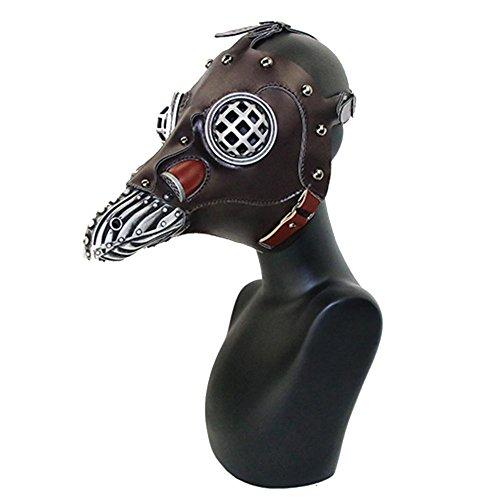 Halloween Maske Schnabelmaske Pest Arzt Bad Doctor Steampunk Gesichtsmaske mit langer Nase Kostüm Fashing Karneval Cosplay PU Leder