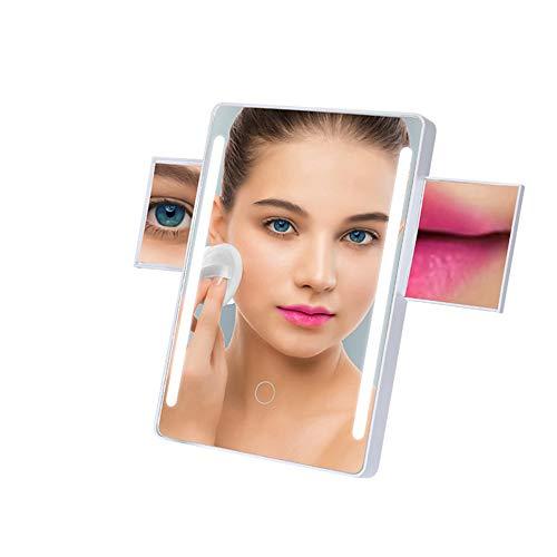 TXqueen Miroir de Maquillage éclairé, Miroir de vanité dimmable lumière Douce Naturelle, Miroir grossissant 2x/7x avec Support, Adaptateur Secteur ou à Piles, Cordon ou sans Fil