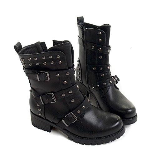 Stiefel mit Nieten und Schnallen - Größe - 39 (Steampunk Damen Stiefel)