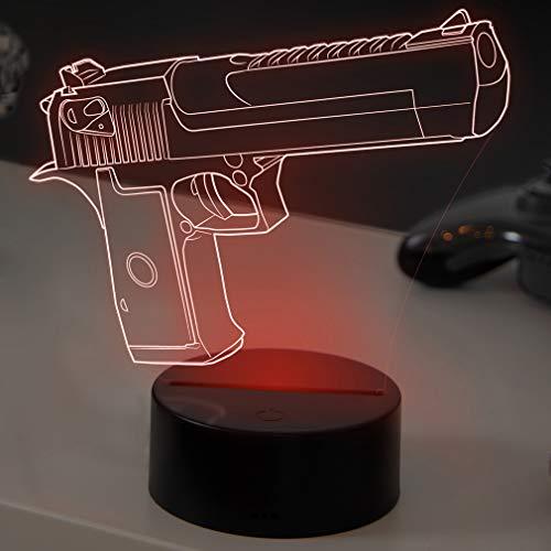 3D LED Deko Lampe CSGO Desert Eagle - Elbeffekt - Deagle Gaming Dekoration - Desert Eagle Dekowaffe Nerd Gamer Zocker Geschenk -