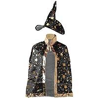 Xuniu Disfraz de Halloween Mago Brujo Vestido Bata Bata Sombrero Estrellas Cosplay para niños Niños #