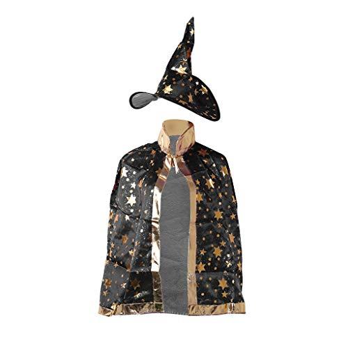 een Kostüm Hexe Zauberer Umhang Robe Mütze Sterne Cosplay, Stoff, Schwarz, 86x37x38cm ()