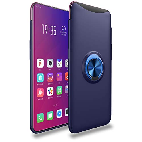 Faliang Oppo Find X Hülle, Silikon Schutzhülle Autonavigation Hüllen, Metall 360 Grad Drehbare Magnetisch Ringschnalle Case für Oppo Find X (Blau)