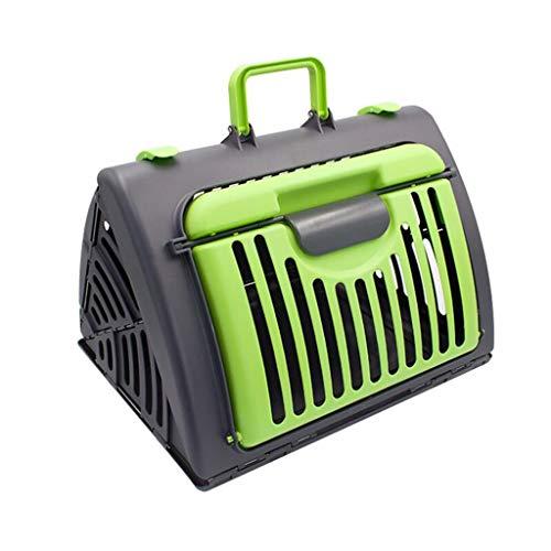 YULAN Falten Pet Box Kunststoff Käfig Katze Hund Reise Transport Tragbare Auto Heraus Versand 3 Farbe 45 * 35 * 33 cm (Color : Green) - Hunter Green-drei Taschen