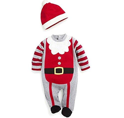 Natale bambino tute a maniche lunghe tutina neonato rosso Babbo Natale Tuta in cotone Red 1 12 Mesi