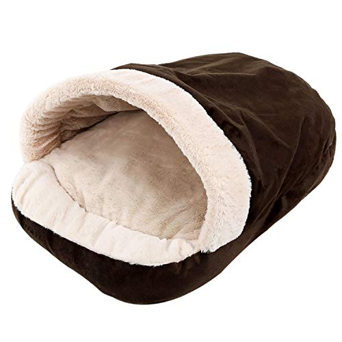 TOOGOO New Pet Soft Hund Katze Bett Haus Winter Warming Nest Matte Fuer Kleine Hunde Schlafsack Chihuahua Teddy Zwinger braun