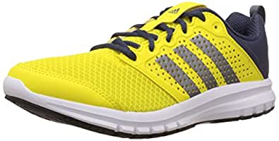 adidas Men's Madoru M Bright Yellow, Grey and Dark Blue Mesh Running Shoes - 11 UK