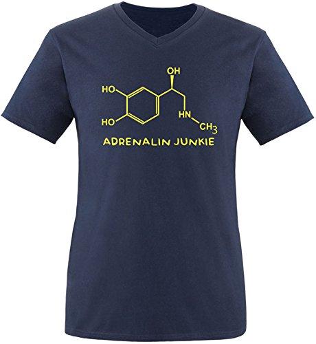 EZYshirt® Adrenalin Junkie Herren V-Neck T-Shirt Navy/Gelb